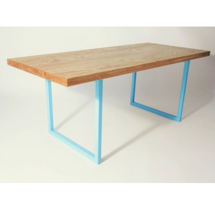 Oak And Blue Steel Coffee Table